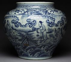 A LARGE BLUE AND WHITE PORCELAIN JAR. True Ming dynasty JiaTai period made blue…