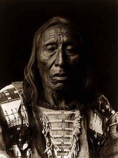His Fights, an Old Indian Brave. It was taken in 1908 by Edward S. Curtis.