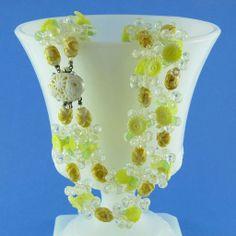 Lemon/Lime Citrus Colored Lucite Fruit Salad Necklace w/Ornate Celluloid Clasp