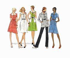 1970s VOGUE DRESS PATTERN Tunic & Pants Pattern Front Zip Dress Vogue 2701 Basic Design  Vintage Womens Misses Petite Sewing Patterns at DesignRewindFashions on Etsy