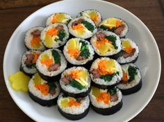 Gimbap, a Korean dish A healthy complete meal all in one roll. I have tried making it and made some substitute on the other ingredients that are not available in my area.