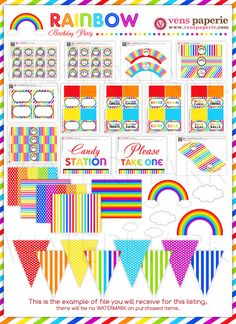Rainbow Birthday Party Package Personalized FULL Collection Set  - PRINTABLE DIY - PS808x. $35.00, via Etsy.