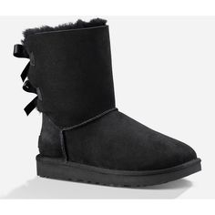 Ugg Bailey Bow Ii Womens Boots ($164) ❤ liked on Polyvore featuring shoes, boots, ankle boots, ugg® bootie, suede leather boots, bow boots, suede ankle bootie and short boots