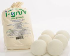 Wool Dryer Balls by i-Gruv set of 6 XL  Hand Made Pure Eco Friendly 100% New Zealand Wool All Natural Fabric Softener  Anti Static Laundry  Organic Reusable Felt Hypoallergenic Ball  No Dryer Sheets  Best for New Born Baby Mom to Be Gift Basket and Cloth Diapers http://amzn.to/2bZcMeG #igruv #dryerballs