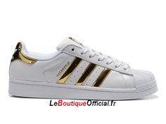 Bakets Adidas Original Superstar J AQ2871 Homme Blanc Or