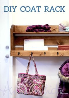 Create this DIY Wood Coat Rack by following this step-by-step tutorial! This wood project is sure to help organize your mudroom just in time for spring-cleaning.