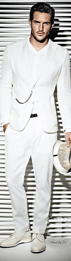 Armani Collezioni ~ Tнεα - tje complete look- the white suit, shirt, hat, his hair and beard.