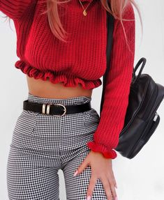 Color contrast. Black, White, Red. High waisted stippred pants. Belly shirt.