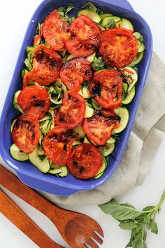 Grilled Tomatoes and Basil Zucchini Noodles with Balsamic Glaze