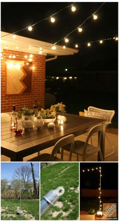 Want to string patio lights in your backyard? Our Style Challenge blogger Dana of House*Tweaking used top rail fencing end caps anchored in cement!