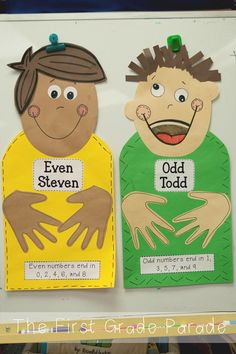 Such a clever idea for teaching odd and even numbers using the story of Even Steve you loves to share (same amount of sweets in both hands) and Odd Todd who doesn't!