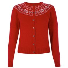 Newman Red Knitted Cardigan | Vintage Style Knitwear - Lindy Bop