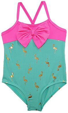 Wippette Toddler Girls' Flamingo Swimsuit, Seafoam, 3T Wi...