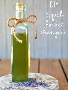 Love this idea - a simple tutorial for making your own all-natural homemade liquid shampoo! It's just 3 ingredients plus water, it includes ideas for dandruff, hair growth and even preventing graying hair! :: DontWastetheCrumbs.com