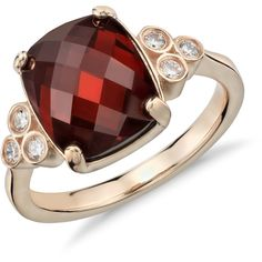 Blue Nile Robert Leser Trinity Garnet and Diamond Ring ($1,095) ❤ liked on Polyvore featuring jewelry, rings, accessories, wedding rings, 14k diamond ring, round ring, brilliant cut diamond ring and 14k wedding ring