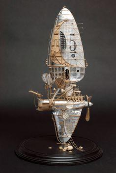 Steampunk Ship, Arte Steampunk, Steampunk Design, Dirigible Steampunk, Metal Design, Cardboard Art, Futuristic Art, Cyberpunk Art, Assemblage Art