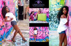 poses for graffiti fashion photo shoot