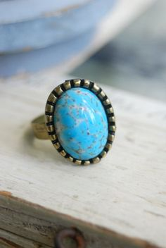 Blue vintage glass stone adjustable ring. by tiedupmemories