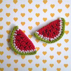 2pcs Watermelon Crochet Appliques made to order by appliquefarm