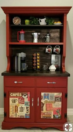 People Are Upcycling Old Kitchen Hutches Into Cozy Coffee Bars – The Best Home Coffee Stations Ideas, Tips and Designs Bar Hutch, Kitchen Hutch, Old Kitchen, Kitchen Decor, Kitchen Small, Coffee Bar Station, Home Coffee Stations, Coffee Bars In Kitchen, Coffee Bar Home