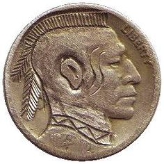 FRANK BRAZZELL HOBO NICKEL - 1923? BUFFALO PROFILE Indian Theme, Hobo Nickel, Page 3, Buffalo, Classic Style, Auction, Carving, Profile, Floor