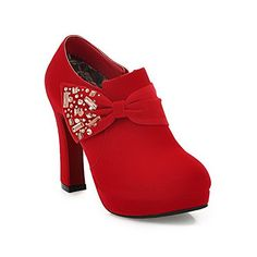 VogueZone009 Womens Closed Round Toe High Heel Suede Frosted PU Solid Pumps with Zippers and Bowknot Red 75 BM US ** Find out more about the great product at the image link.