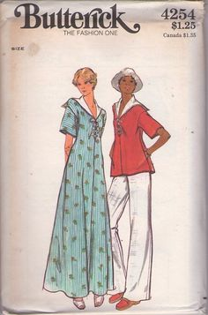 MOMSPatterns Vintage Sewing Patterns - Butterick 4254 Vintage 70's Sewing Pattern AHOY! Nautical Disco Era Sailor Collar Flared Smock Top Blouse, Flared Leg Pants, Maxi Gown Dress, Front Lacing Size 12