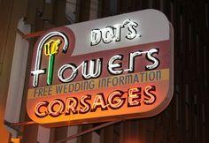 Dot Flowers, restored neon sign in Downtown Las Vegas, Nevada