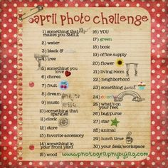 Photography By JAG April photo challenge... Get involved and have fun with it....