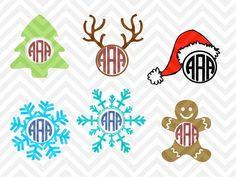Christmas Monogram Bundle christmas tree, reindeer, snowflake, santa hat, gingerbread man SVG file - Cut File - Cricut projects - cricut ideas - cricut explore - silhouette cameo projects - Silhouette projects by KristinAmandaDesigns