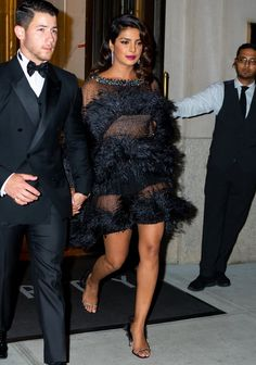 Priyanka Chopra Black Feather Dress and Heels 2019 Photos Of Priyanka Chopra, Black Feather Dress, Ralph And Russo, 30th Birthday Parties, Dress And Heels, Celebs, Celebrities, Red Carpet Fashion, Indian Actresses