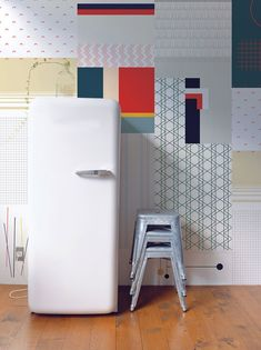 Illustrator Stephan Cheetham and interior designer Jessica Pinotti of All The Fruits created a range of colourful, pre-glued wallpaper that doesn't need to be matched or aligned to cover walls