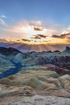 Zabriskie Point is a part of the Amargosa Range located east of Death Valley in Death Valley National Park in California, United States, noted for its erosional landscape. It is composed of sediments from Furnace Creek Lake, which dried up 5 million years ago—long before Death Valley came into existence. #Photography #landscape #tips