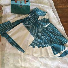 """Chloe skirt Chloe beautiful geometric skirt a must havewaist 26""""aqua fresh . Made in France Chloe Skirts A-Line or Full"""