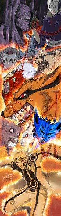 Tobi, Obito, Tailed Beasts, Bijuu, Naruto, Nine Tail Chakra Mode, cool; Naruto