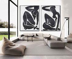 Set Of 2 Extra Large Contemporary Art, Acrylic Modern Wall Art On Canvas, Minimalist Canvas Art, Abstract Nude Art, HANDMADE.