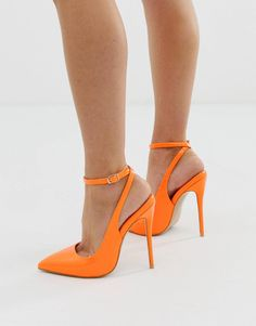 6cade2284e Simmi London Sure neon orange ankle strap court shoes