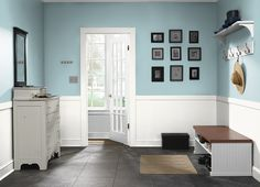 This is the project I created on Behr.com. I used these colours: OCEAN KISS(510E-3),DECORATOR WHITE(PWN-10)