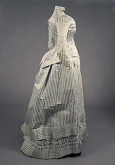 E. PINGAT 3 PIECE STRIPED SILK DRESS, 1880s Dress has two bodices