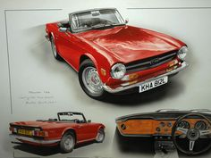 TRIUMPH You may well have seen Chris at many of the countries motoring shows like, The Autosport Racing Car Show, Race Retro, Goodwood and at. British Sports Cars, Classic Sports Cars, Classic Cars, Pontiac Cars, Chevrolet Corvette, Good Looking Cars, Triumph Spitfire, Car Advertising, Automotive Art