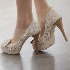 DressWe - DressWe Wedding Shoes Lace Peep Toe Slip-On High Heels - AdoreWe.com