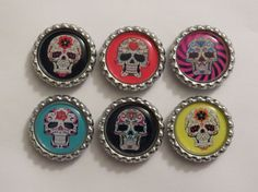 Day of the Dead Magnet Set Sugar Skulls, Day Of The Dead, Magnets, Projects To Try, Awesome, Beautiful, Etsy, Day Of Dead, Candy Skulls