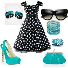 black polka dots with blue accessories to brighten it up omg I'm in love