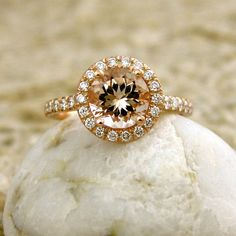 Handmade Natural Peach Apricot Morganite Engagement Ring with Diamonds in 14K Rose Gold Size 7