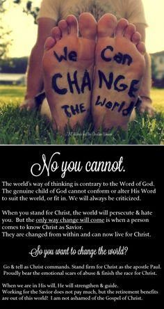 Think YOU can change the world?   Not a chance.
