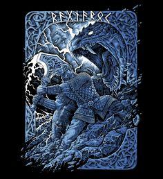 Thor Ragnarok, norse mythology, illustration, tshirt, brutal, metal art, dark, tattoo, design, battle, medieval, ink drawing