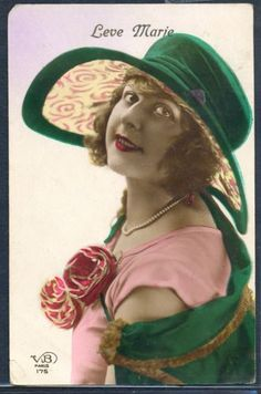 PL102-ART-DECO-HIGH-FASHION-FLAPPER-LADY-Large-HAT-KITSCH-Tinted-PHOTO-pc