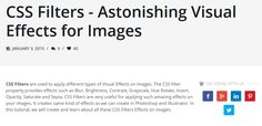 CSS Filters - Astonishing Visual Effects for Images, #Code, #CSS, #CSS3, #Tutorial, #Web #Design, #Development