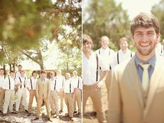 possible groomsmen attire with different color suspenders to match the bridesmaids dresses