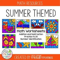 These math coloring sheets are perfect for addition and subtraction practice during those last weeks of the school year! You may be introducing new concepts, but you need your students to continue practicing addition and subtraction! This resource provide First Year Teachers, New Teachers, Kindergarten Lesson Plans, Preschool Kindergarten, Hands On Activities, Math Activities, Summer Activities, Addition And Subtraction Practice, Help Teaching